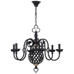 1960s French Metal Chandelier