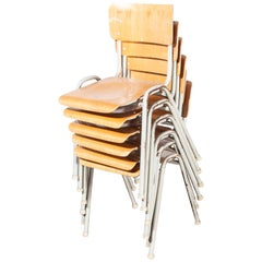 1960s French Metal Framed Stacking University, Dining Chairs, Set of Six