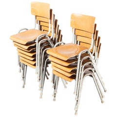1960s French Metal Framed Stacking University, Dining Chairs, Set of Twelve