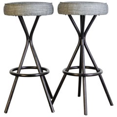 1960s French Metal Stools with Upholstered Seat, a Pair