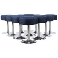 1960s French Metal Stools with Upholstered Seats, Set of Eleven