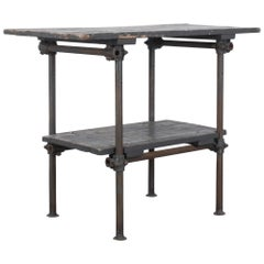 1960s French Metal Worktable with Wooden Top