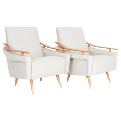 1960s French Mid-Century Modern Armchairs, a Pair