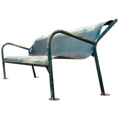 1960s French Municipal Garden / Outdoor / Indoor Bench, Perforated Steel