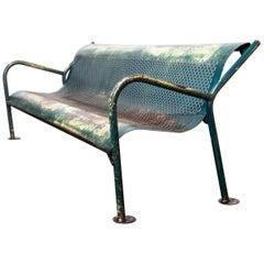 1960s French Municipal Garden / Outdoor / Indoor Bench, Perforated Steel