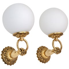 1960s French Neoclassical Hand Brass and Opaline Glass Sconces, 3 Pair Available