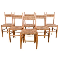 1960s French Oak Chairs with Woven Seats and Backs, Set of Six