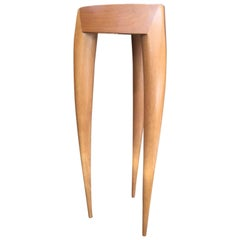 1960s French Oak Saber Tri Legs Side Table