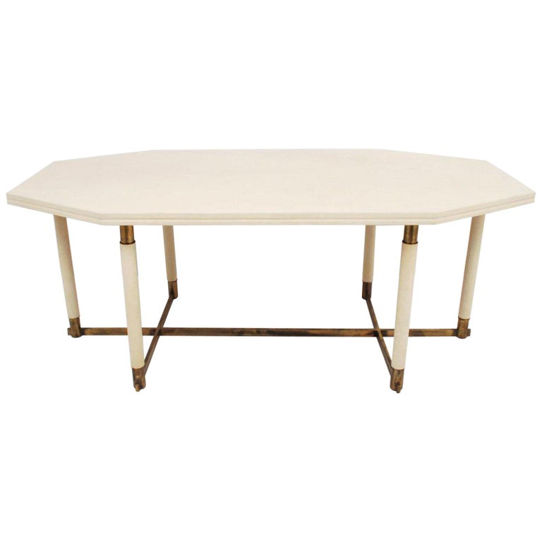 1960s French Octagonal Leather Table by Maison Jansen For Sale