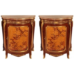 1960s French Provincial Fruitwood and Marble Demilune Cabinets