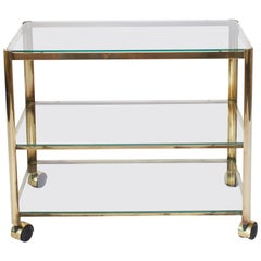 1960s French Quinet Bronze and Smoked Glass Bar Cart