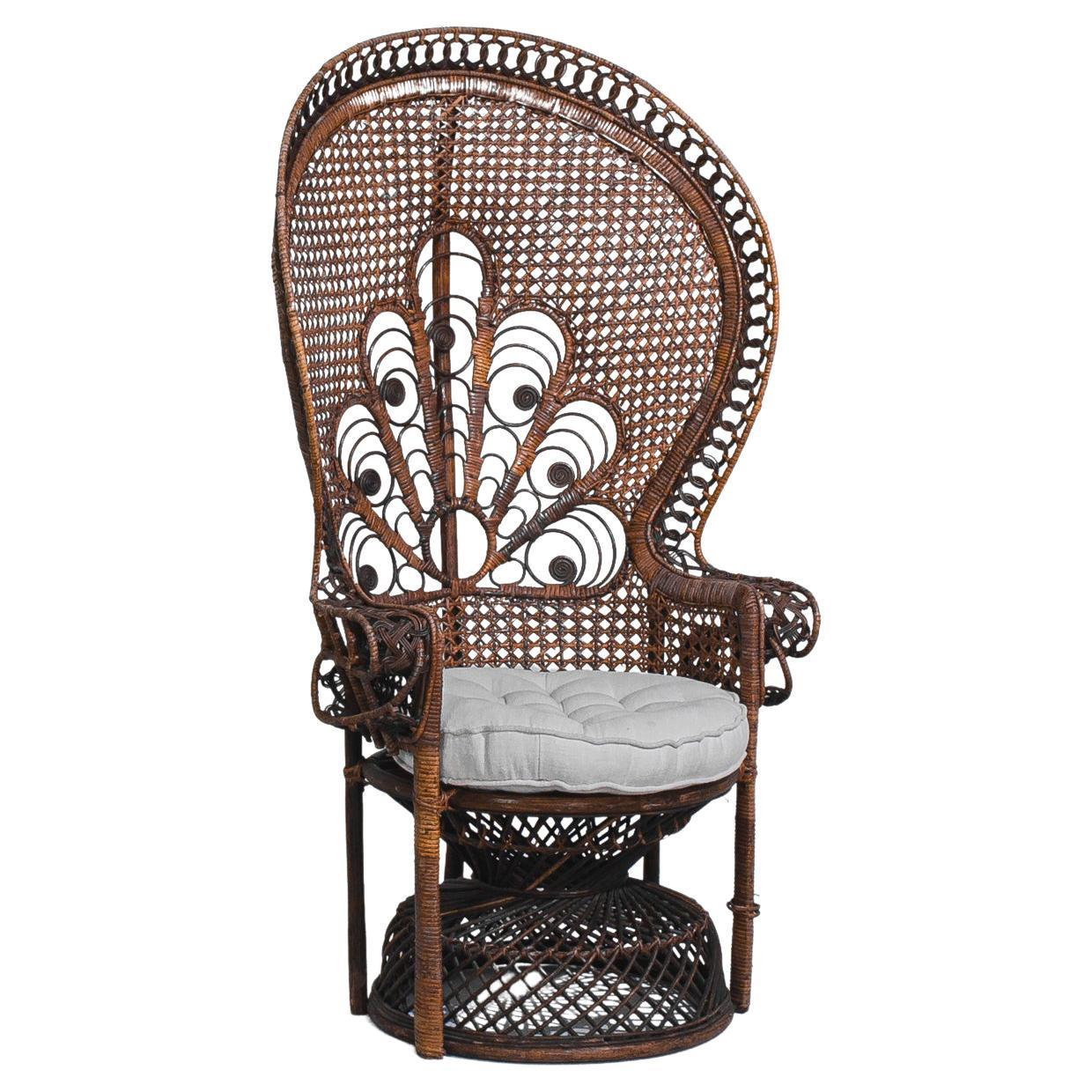 1960s French Rattan Armchair with Upholstered Seat