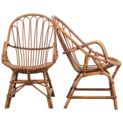 1960s French Rattan Armchairs, a Pair
