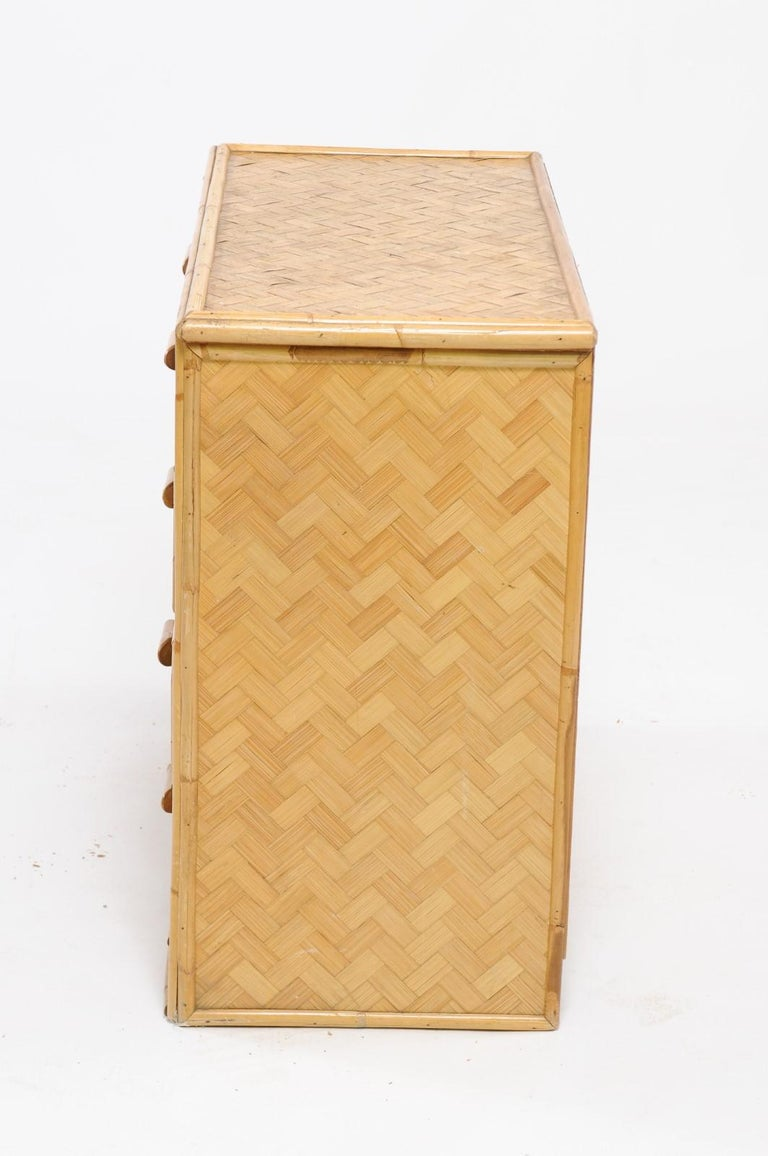 1960s French Rattan Commode For Sale 5