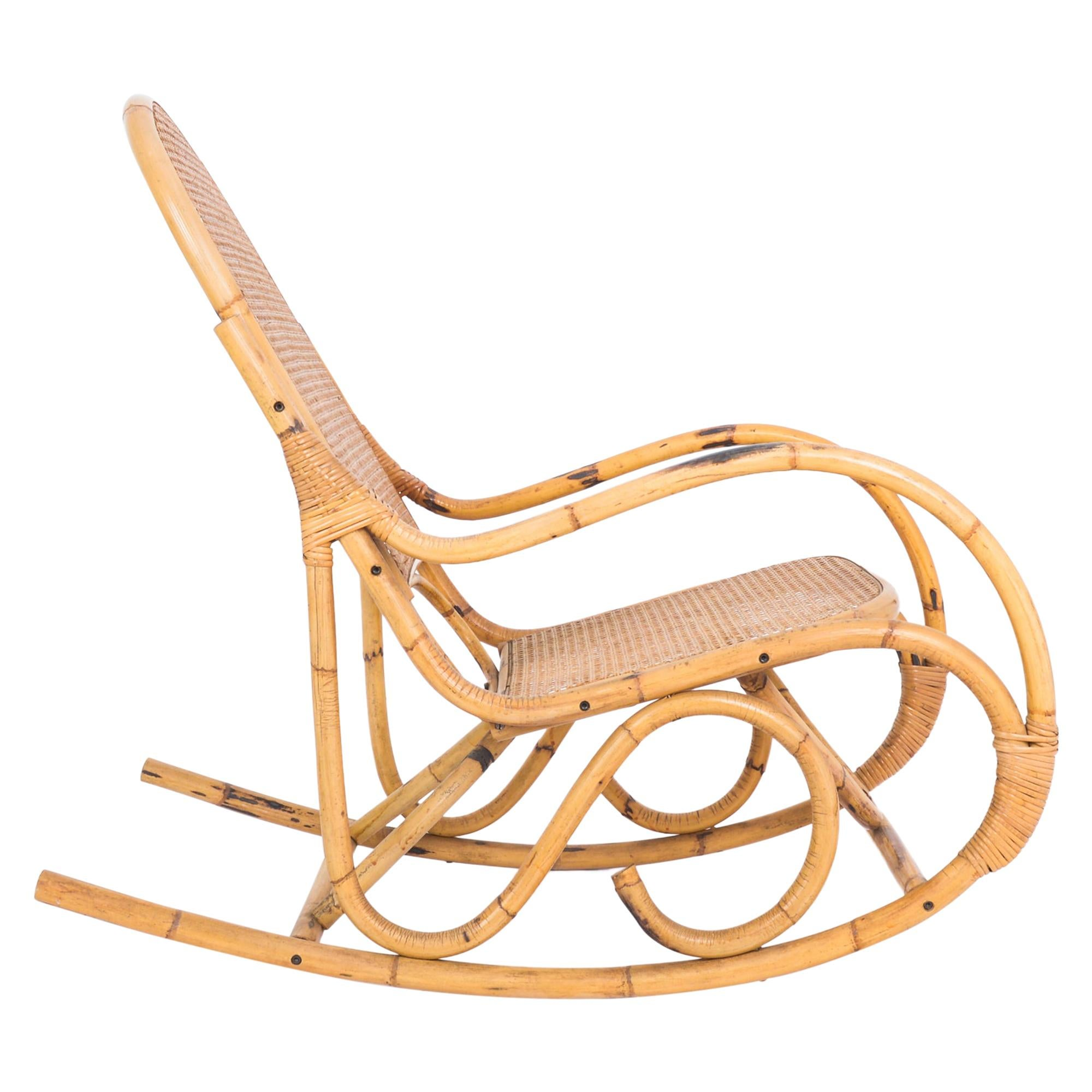 1960s French Rattan Rocking Chair