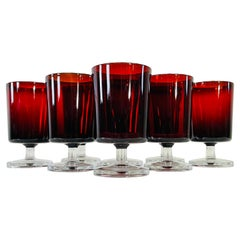 1960s French Red & Clear Glass Stems, Set of 8