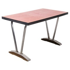 1960's French Red Laminate Dining Table with Aluminium Base 'Model 780.1'