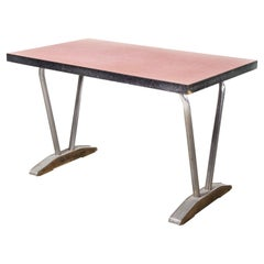 1960's French Red Laminate Dining Table with Aluminium Base, 'Model 780.2'