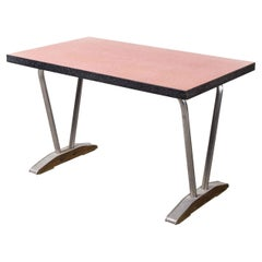 1960's French Red Laminate Dining Table with Aluminium Base, Rectangular