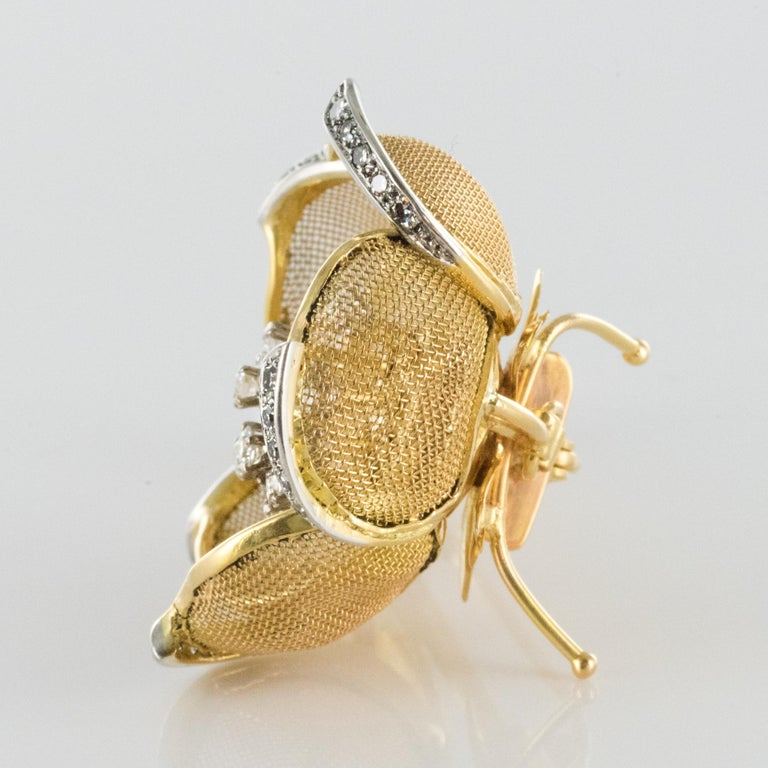 1960s French Retro Rose Shape Articulated Diamond Yellow Gold Brooch For Sale 6