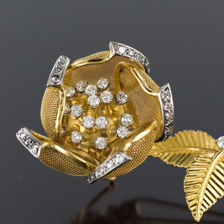 1960s French Retro Rose Shape Articulated Diamond Yellow Gold Brooch For Sale 11