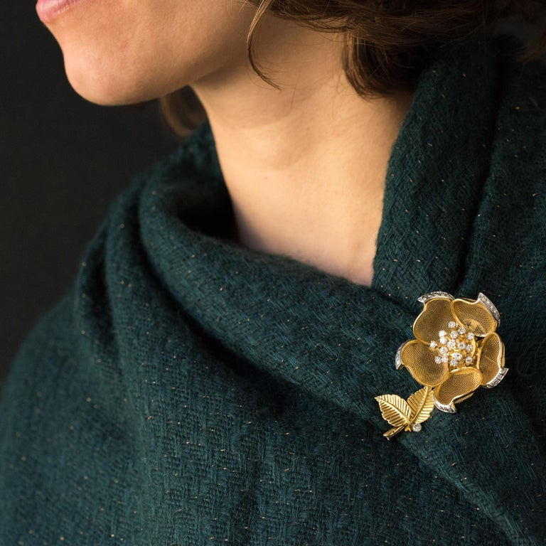 Women's 1960s French Retro Rose Shape Articulated Diamond Yellow Gold Brooch For Sale