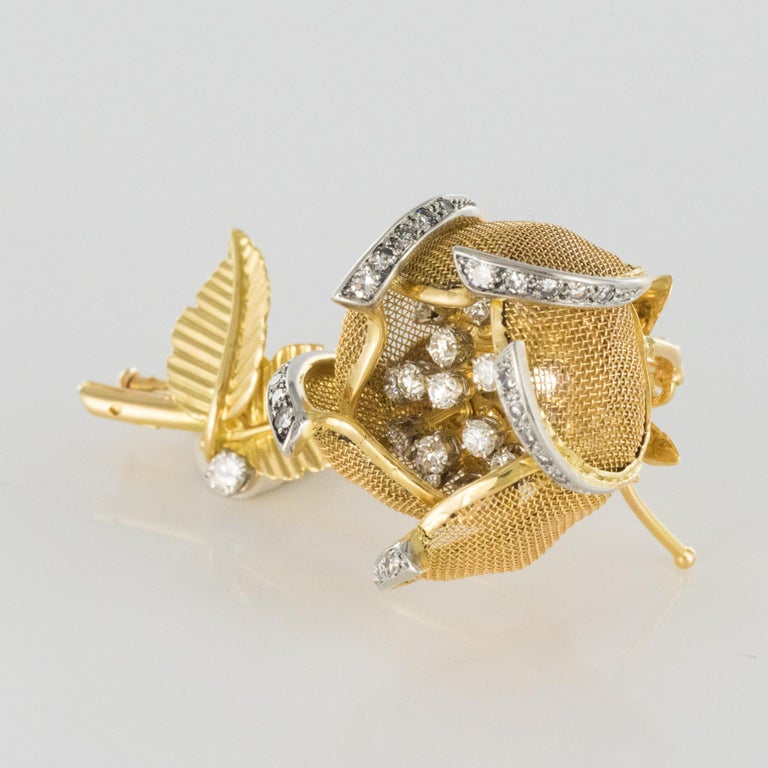 1960s French Retro Rose Shape Articulated Diamond Yellow Gold Brooch For Sale 5