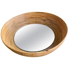 1960s French Riviera Circular Bowl Shaped Bamboo Mirror
