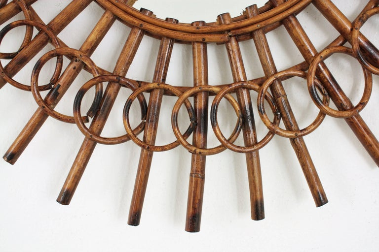 1960s French Riviera Mid-Century Modern Rattan Sunburst Mirror Framed by Circles For Sale 2