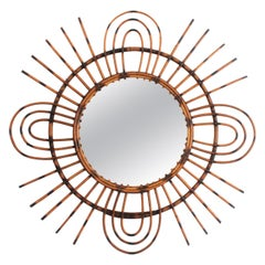 1960s French Riviera Midcentury Rattan Sunburst Mirror with Triple Petals