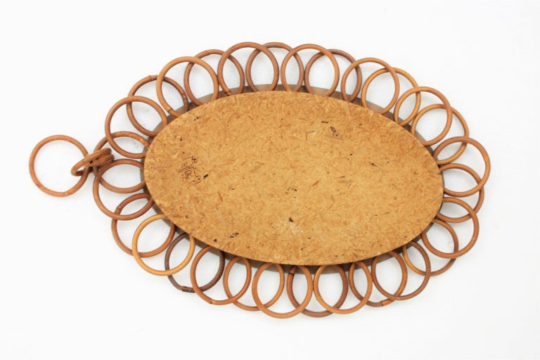 1960s French Riviera Rattan Flower Shaped Hanging Oval Mirror For Sale 4
