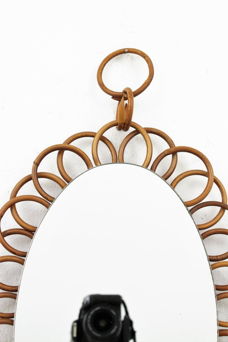 1960s French Riviera Rattan Flower Shaped Hanging Oval Mirror For Sale 3