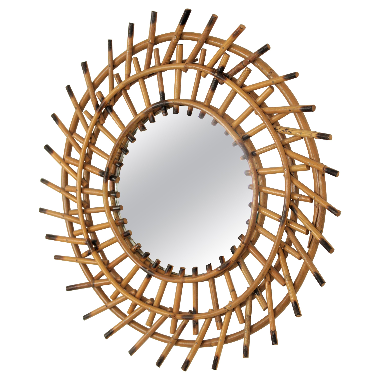 Rattan Sunburst Mirror Pinwheel Design, French Riviera, 1960s