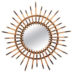 1960s French Riviera Rattan Starburst / Sunburst Mirror with Pyrography Details