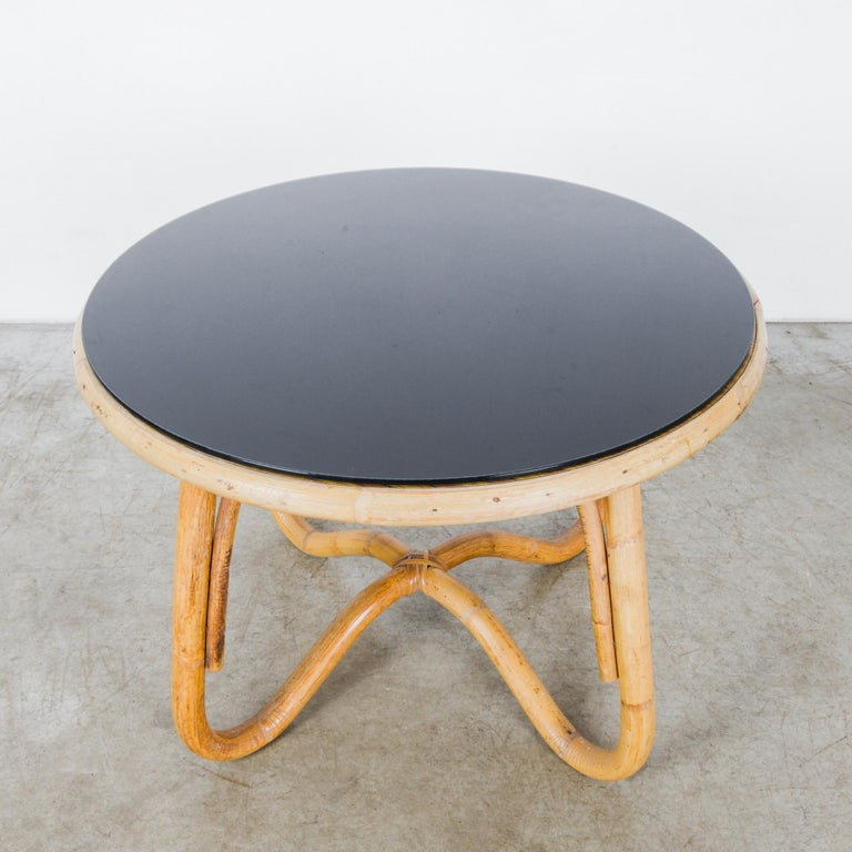 Mid-20th Century 1960s French Round Rattan Table with Black Glass Top For Sale