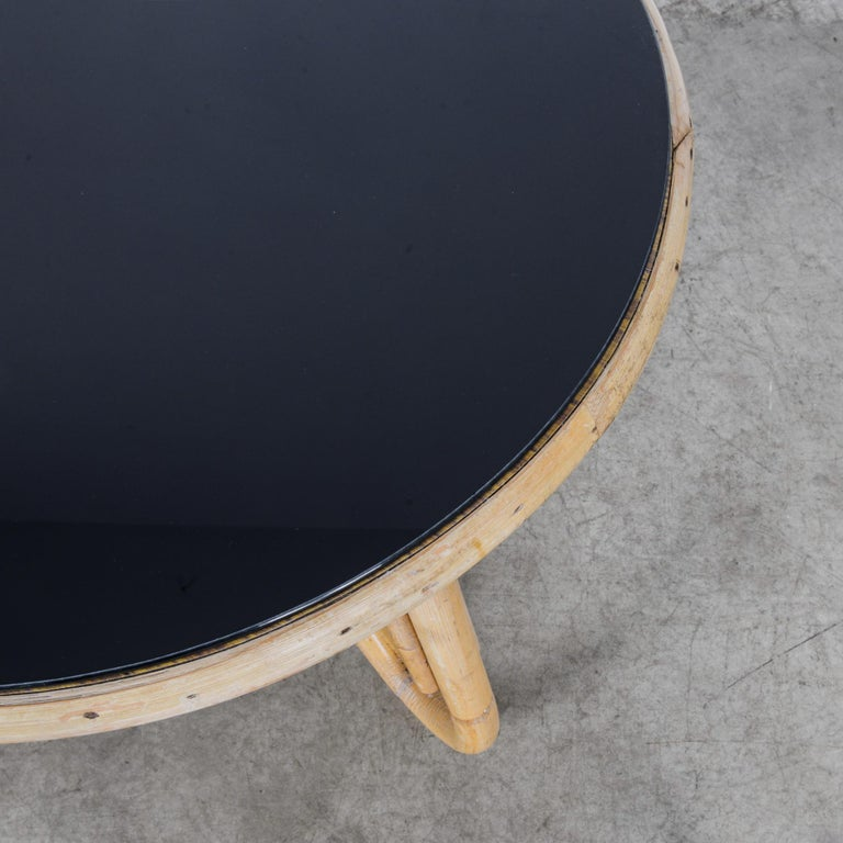 1960s French Round Rattan Table with Black Glass Top For Sale 1