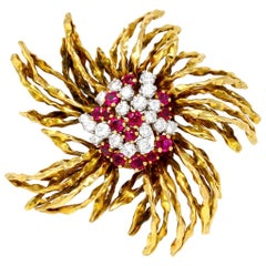 1960s French Ruby and Diamond Brooch in 18 Karat Yellow Gold