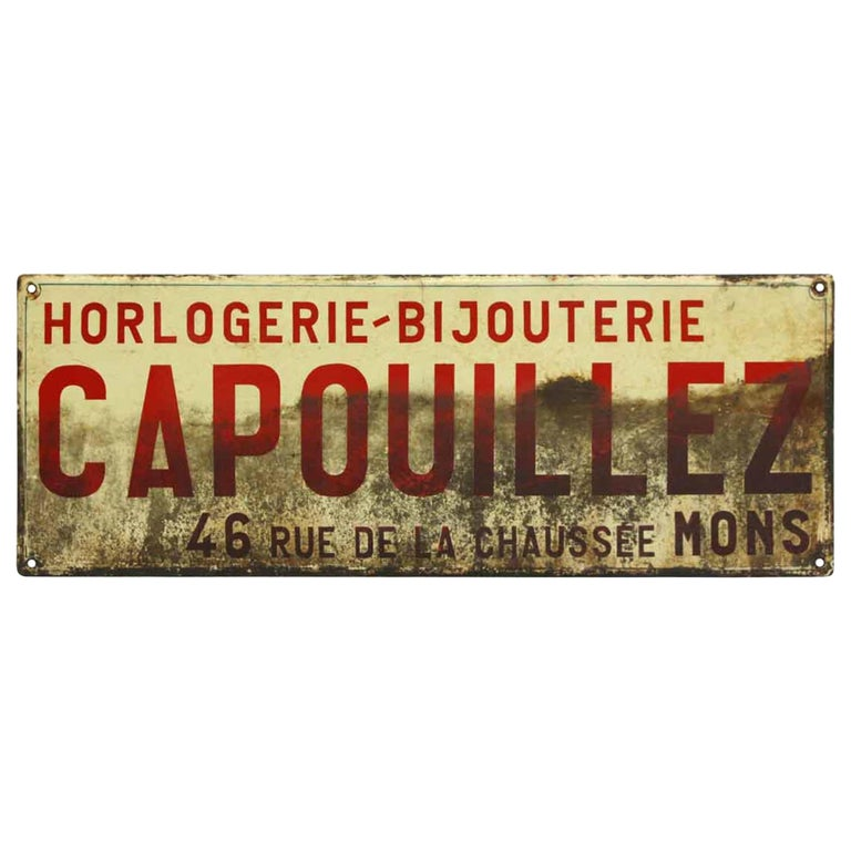 """1960s French Signage """"Capouillez"""" Painted Steel Sign For Sale"""