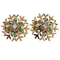 1960s French Snowflake Asscher Cut Diamond Emerald Gold Earrings