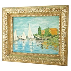 1960s French Souvenir Oil Painting Claude Monet Regatta Argenteuil Boats Summer
