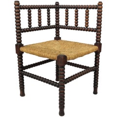 1960s French Stick and Ball Wooden and Rush Corner Chair