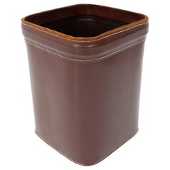 1960s French Stitched Leather Waste Basket