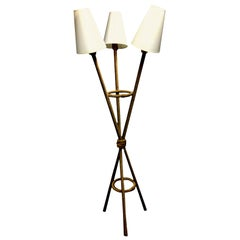 1960s French Tripod Multi-Shade Rope Floor Lamp
