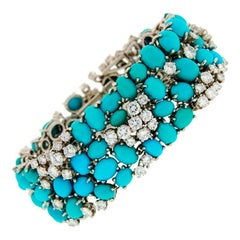 1960s French Turquoise Diamond Platinum Bracelet