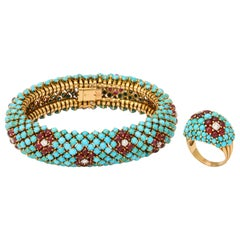 1960s French Turquoise Ruby Diamond Bracelet and Ring Set