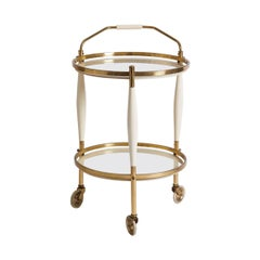 1960s French White Wood, Brass and White Glass Bar Cart