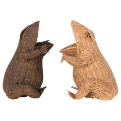 1960s French Wicker Frog Baskets, a Pair