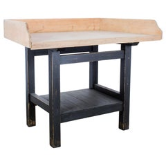 1960s French Wooden Patinated Bakery Table