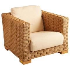 1960s French Woven Lounge Rope Chair