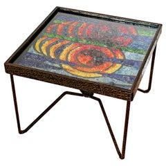 1960s French Wrought Iron Side Coffee Table with Glass Mosaic